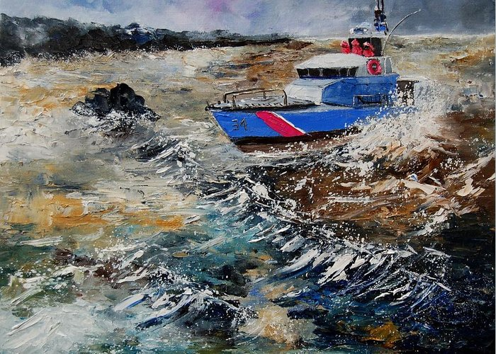Sea Greeting Card featuring the painting Coastguards by Pol Ledent