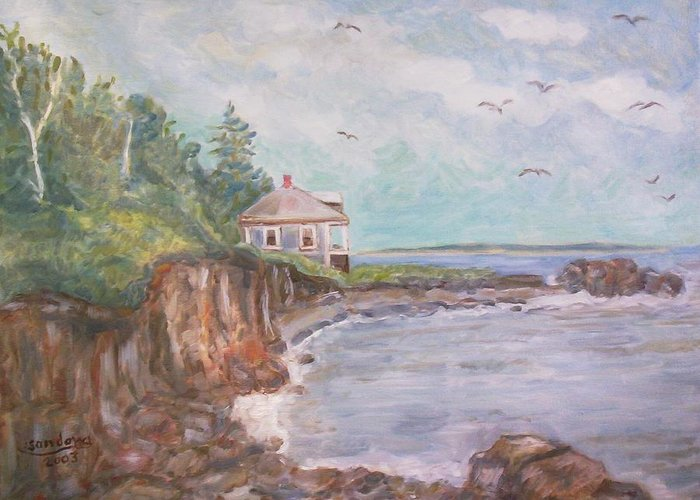 Seascape Greeting Card featuring the painting Coastline by Joseph Sandora Jr