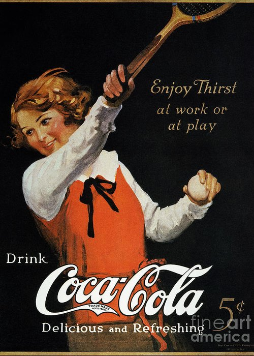 1923 Greeting Card featuring the photograph Coca-cola Ad, 1923 by Granger