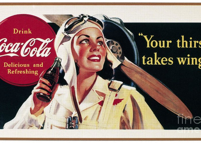 1941 Greeting Card featuring the photograph Coca-cola Ad, 1941 by Granger