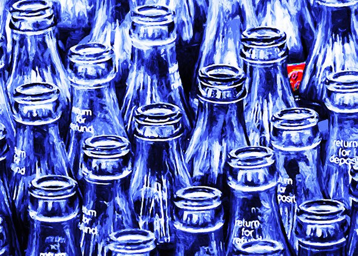 Wingsdomain Greeting Card featuring the photograph Coca-Cola Coke Bottles - Return For Refund - Square - Painterly - Blue by Wingsdomain Art and Photography