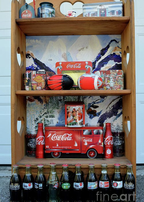 Coca Cola Greeting Card featuring the mixed media Coca Cola Coletion by To-Tam Gerwe