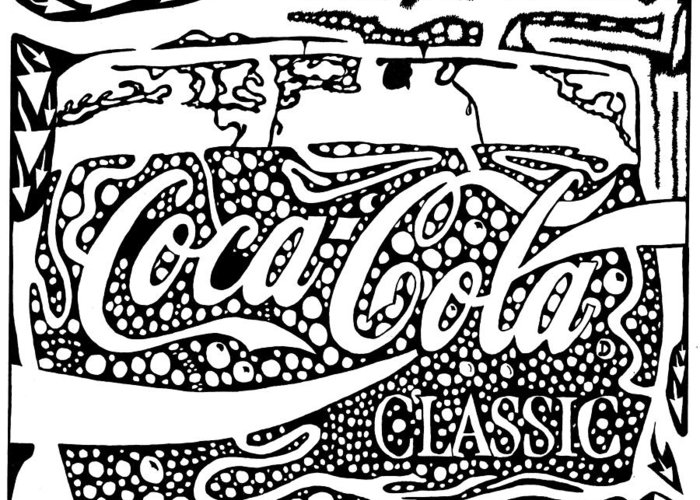 Coca Greeting Card featuring the drawing Coca-cola Maze Advertisement by Yonatan Frimer Maze Artist