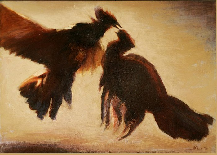 Cock Greeting Card featuring the painting Cock Fight by James LeGros
