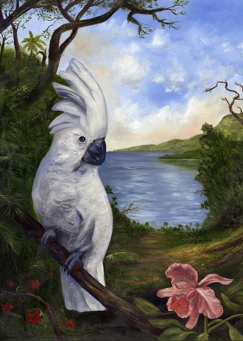 Landscape Greeting Card featuring the painting Cockatoo and Orchid by Anne Kushnick