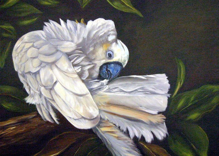 Birds Greeting Card featuring the painting Cockatoo Preening by Anne Kushnick
