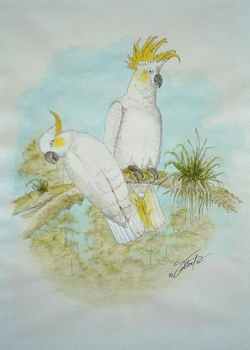 Birds Greeting Card featuring the painting Cockatoos by Dennis Vebert