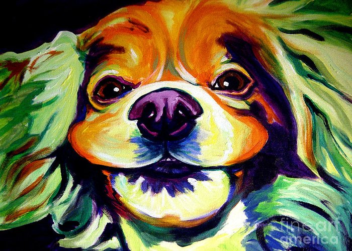 Dog Greeting Card featuring the painting Cocker Spaniel - Cheese by Alicia VanNoy Call
