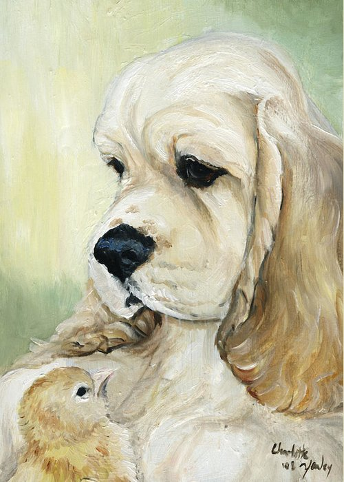 Dog Greeting Card featuring the painting Cocker Spaniel And Chick by Charlotte Yealey