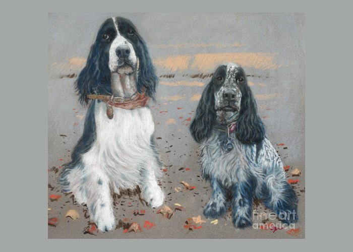 Dogs Greeting Card featuring the pastel Cocker Spaniels by Suzie Majikol Maier