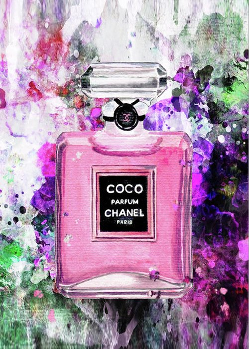 Chanel Art Print Greeting Card featuring the painting Coco Chanel Parfume Pink by Del Art