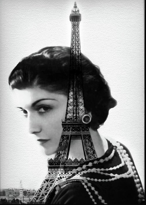 Coco Greeting Card featuring the painting Coco Chanel - Paris - Eiffel Tower - By Diana Van by Diana Van