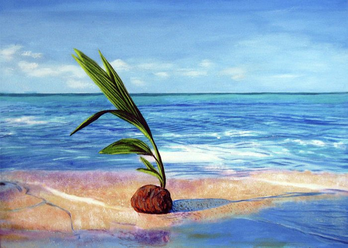Ocean Greeting Card featuring the painting Coconut on beach by Jose Manuel Abraham