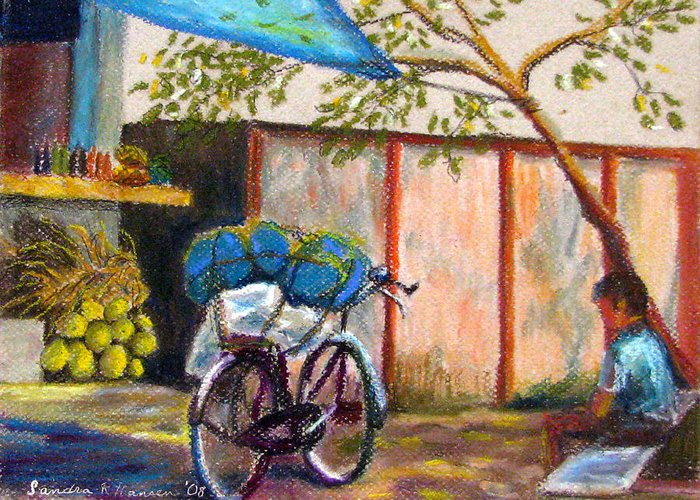 India Greeting Card featuring the painting Coconut Stand by Art Nomad Sandra Hansen