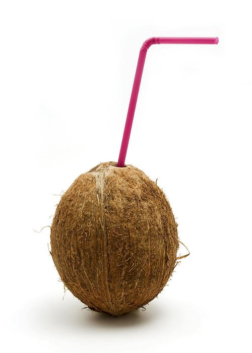White Background Greeting Card featuring the photograph Coconut With A Straw by Fabrizio Troiani