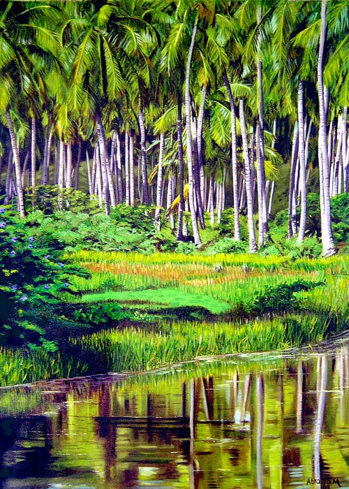 Coconuts Water River Green Art Tropical Greeting Card featuring the painting Coconuts Trees by Jose Manuel Abraham