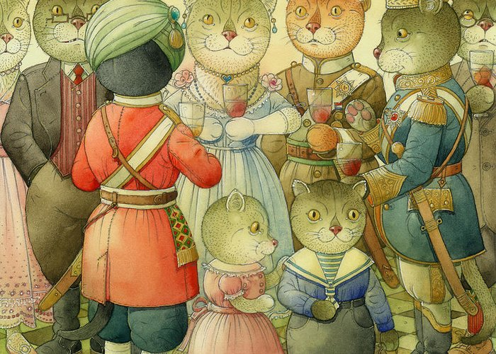 Cats Greeting Card featuring the painting Coctail Party by Kestutis Kasparavicius