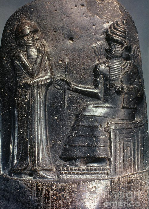 18th Century B.c. Greeting Card featuring the photograph Code Of Hammurabi (detail) by Granger