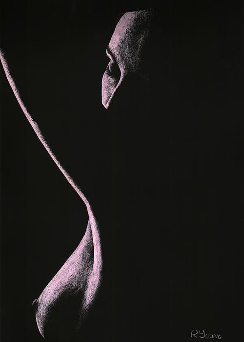 Nude Greeting Card featuring the pastel Coercion by Richard Young
