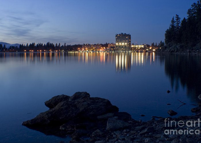 Skyline Greeting Card featuring the photograph Coeur D Alene Skyline Night by Idaho Scenic Images Linda Lantzy