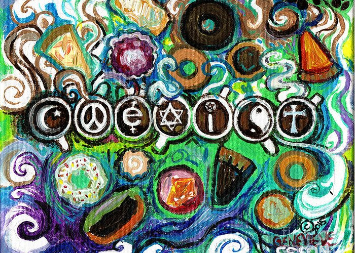 Coexist Greeting Card featuring the painting Coexisting With Coffee And Donuts by Genevieve Esson