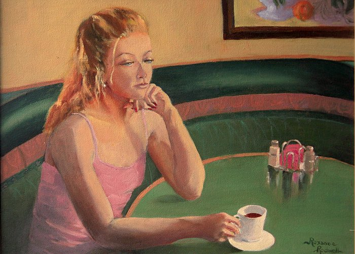 Figure Greeting Card featuring the painting Coffee And Contemplation by Roxanne Rodwell