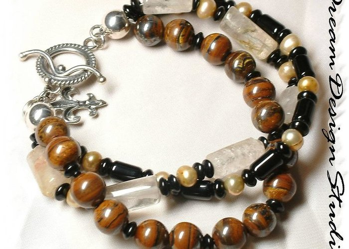 Bracelet Greeting Card featuring the jewelry Coffee and Cream by Donna Phitides