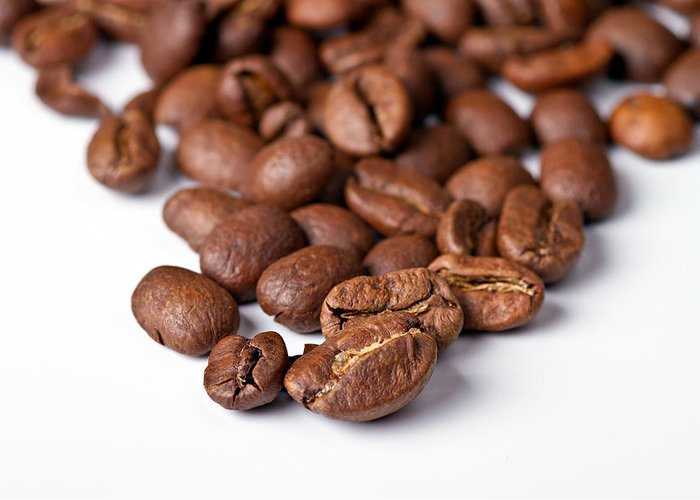 Aroma Greeting Card featuring the photograph Coffee Beans by Gert Lavsen