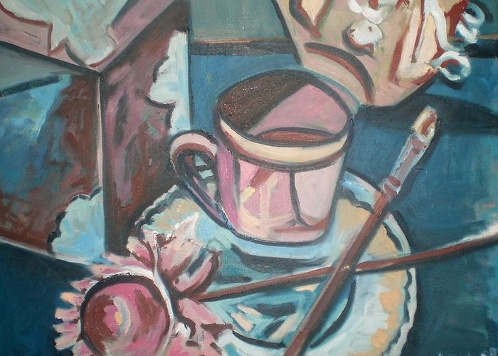 Coffee Cup Greeting Card featuring the painting Coffee Cup With Brush by Aleksandra Buha
