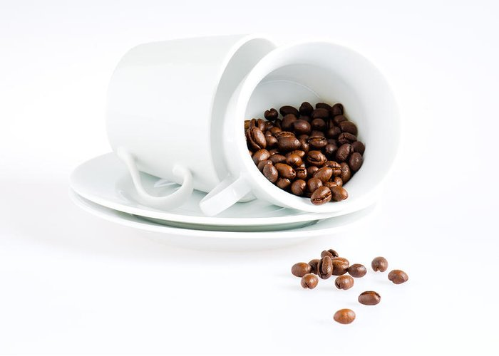 Background Greeting Card featuring the photograph Coffee Cups And Coffee Beans by Ulrich Schade