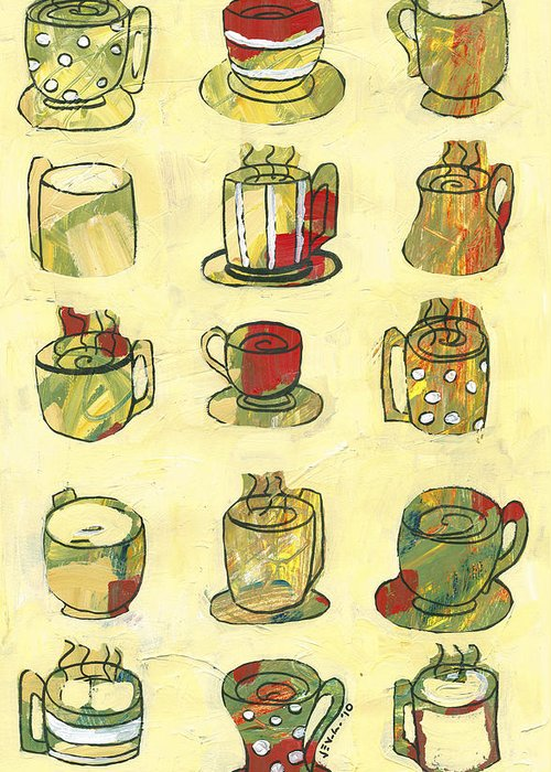 Art Deco Greeting Card featuring the painting Coffee For Fifteen by Jennifer Lommers