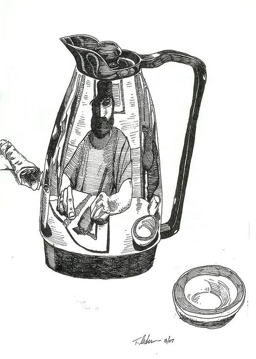 Pen And Ink Greeting Card featuring the drawing Coffee Pot by Tobey Anderson