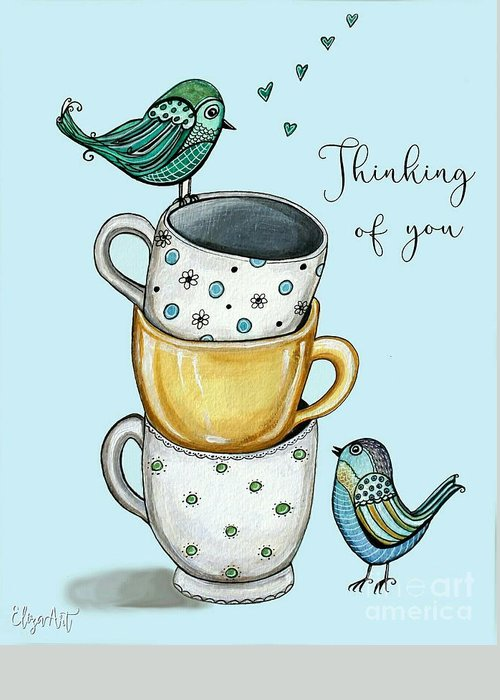 Coffee Greeting Card featuring the painting Coffee With The Birds by Elizabeth Robinette Tyndall