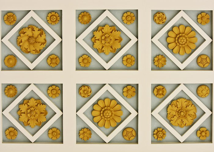 Getty Greeting Card featuring the photograph Coffered Ceiling Detail At Getty Villa by Teresa Mucha