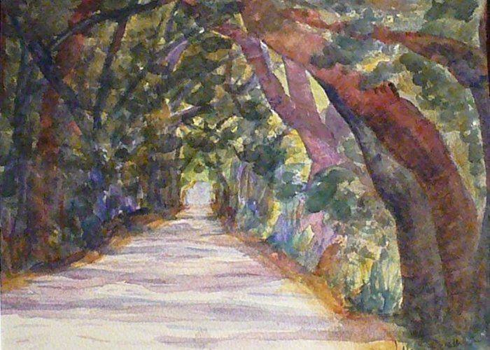 Landscape Greeting Card featuring the painting Coffin Point Road by Stella Schaefer
