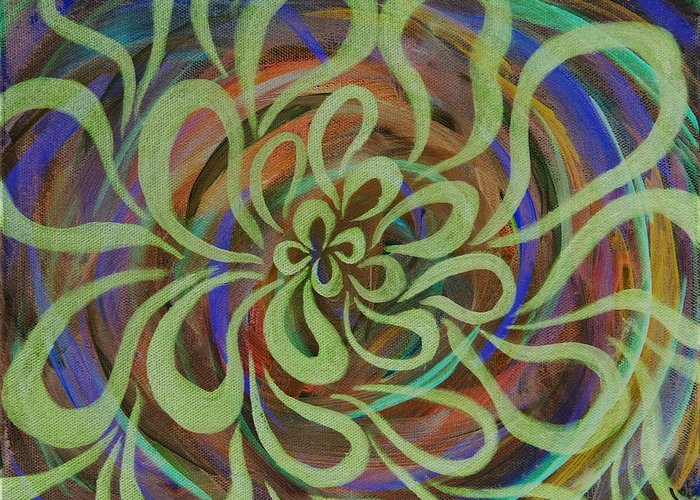 Abstract Greeting Card featuring the painting Cognitive Bloom Invert by Rocqui Charlez