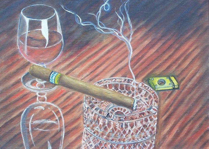 Cigars Greeting Card featuring the painting Cohiba And Wine by Charles Vaughn