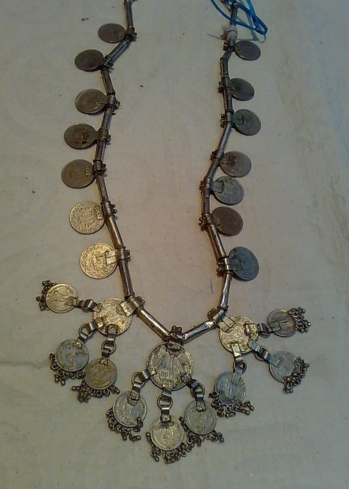 Old Coins Necklace Greeting Card featuring the jewelry Coins Necklace by Dinesh Rathi