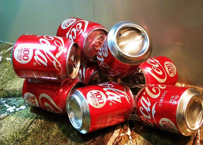 Coke Cans Greeting Card featuring the photograph Coke by Cindy Gacha