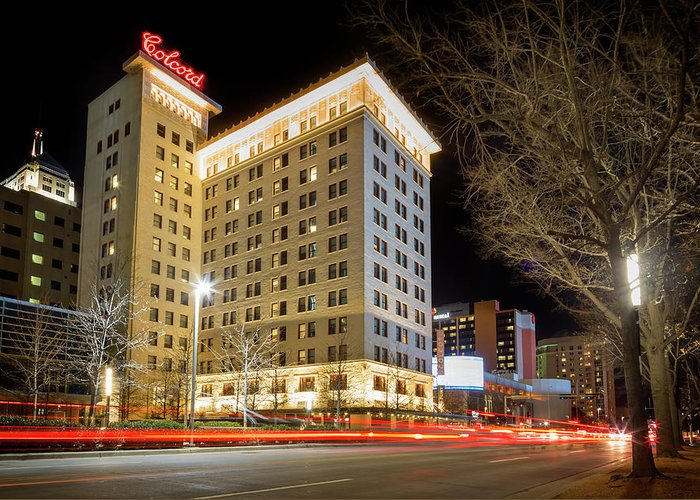 Okc Greeting Card featuring the photograph Colcord At Night by Ricky Barnard