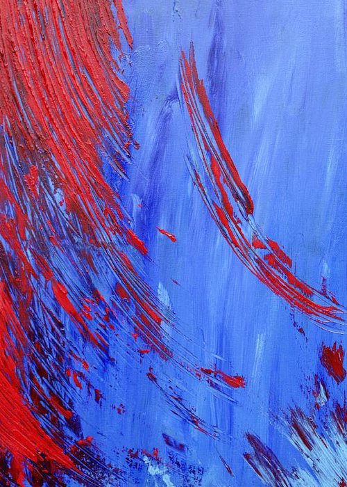Abstract Greeting Card featuring the painting Cold Blooded by Christina McNee-Geiger