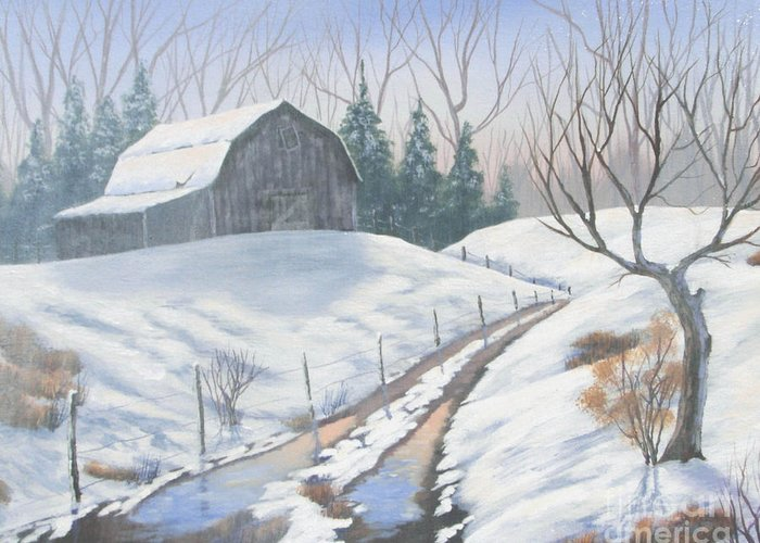 Landscape Greeting Card featuring the painting Cold Country by Jerry Walker