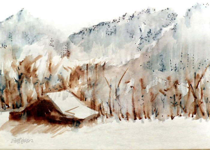 Cold Cove Greeting Card featuring the mixed media Cold Cove by Seth Weaver