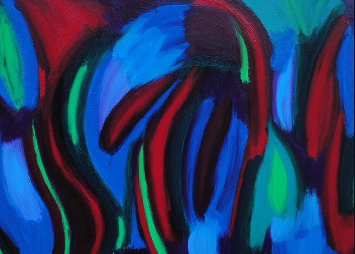 Blue Greeting Card featuring the painting Cold Fusion by Elizabeth Dawson