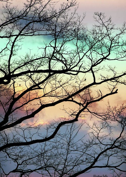 Abstract Tree Greeting Card featuring the mixed media Cold Hearted Bliss by Christina Rollo