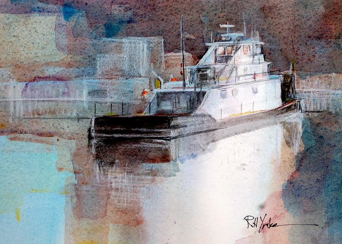 Barge Greeting Card featuring the painting Cold River by Robert Yonke