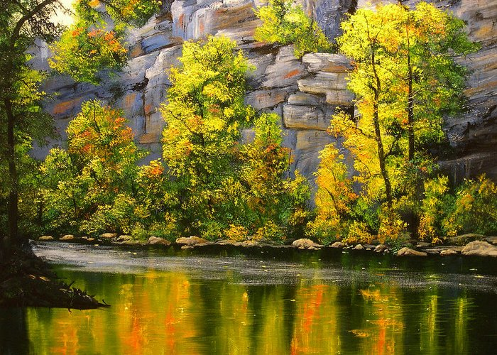 Connie Tom Greeting Card featuring the painting Cold Water Creek by Connie Tom