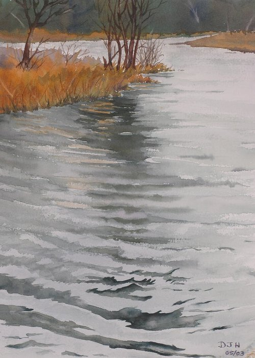 Greeting Card featuring the painting Cold Water by Debbie Homewood