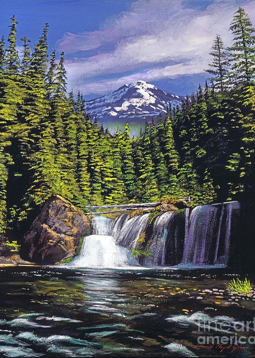 Forest Greeting Card featuring the painting Cold Water Falls by David Lloyd Glover
