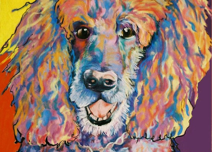 Standard Poodle Greeting Card featuring the painting Cole by Pat Saunders-White